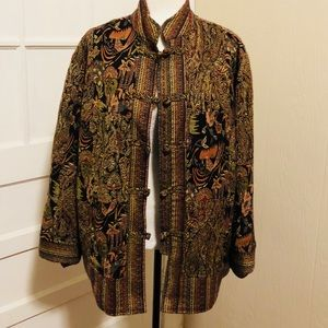 Vintage White Stag Patterned Button Down Coat